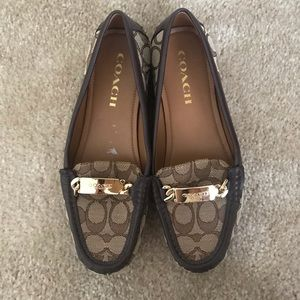 COACH LOAFERS FLATS SIGNATURE BROWN SIZE 7